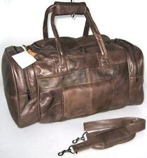 Large Genuine Leather Weekend Duffle Cabin Sports Holdall Travel Bag Case Brown