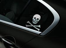 Skull Crossbones Car Sticker Window Styling Decal, Chrome