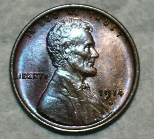 Brilliant Uncirculated 1914-D Lincoln Cent, Beautifully toned, key-date specimen