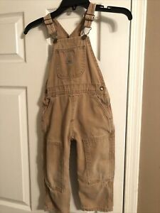 Carhartt Duck Washed Brown Bib Overalls Size Youth Kids 5