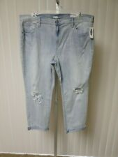 Old Navy Womens  Light SKY Wash Destroyed Boyfriend Jeans  SIZE 16   NWT