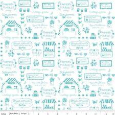 Riley Blake Vintage Market by Tasha Noel C4563 Aqua Text  Cotton Fabric