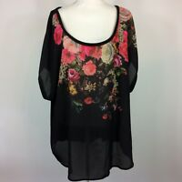 Torrid Floral Knit Top Woven Top Womens Plus Size 4X FLAW Black Short Sleeve