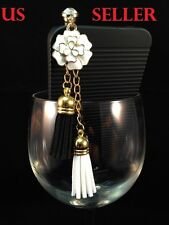 White Flower Tassel Ear Cap Anti Jack Plug Cover for iPhone HTC Samsung