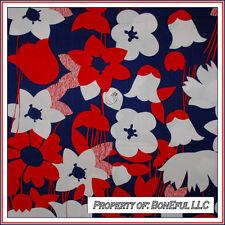BonEful Fabric FQ Cotton Quilt VTG Antique Red White Navy Blue Large Flower Girl
