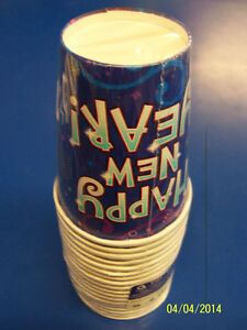 Midnight Festivities Blue Happy New Year's Eve Holiday Party 9 oz. Paper Cups