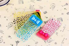 Cover For IPHONE 5-5s Ultra Slim Clear With Polka Dot And Bow