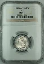 1838 *Gem BU* Capped Bust Silver Quarter NGC MS-64 B-1 Toned