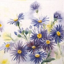 4x Single Party Paper Napkins for Decoupage Decopatch Craft Blue Aster