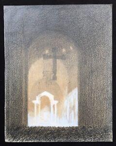 Atmospheric Church Interior c.Early 20thC. Crayon & Chalk Drawing