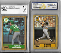 Barry Bonds Mark McGwire Original 1987 Topps Rookie 2 Card Lot Graded 10 Mint