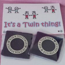 2 x Twins Keepsake Rings / Charms Twin Mum  Christening Gift + FREE GIFT