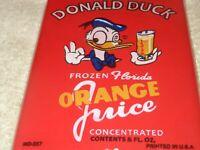 """VINTAGE DONALD DUCK FLORIDA ORANGE JUICE 7"""" PORCELAIN METAL GASOLINE & OIL SIGN!"""