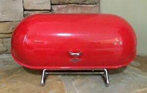Wesco~Breadboy~Bread Box~Chromed Steel~Red~Mid Century Modern