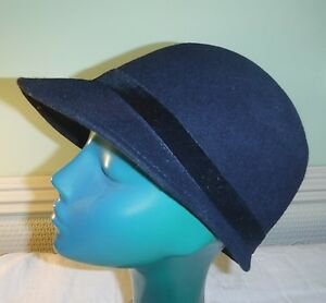 *COOL 60S STYLE PEEKED CAP HAT VERY DARK NAVY MARKS & SPENCERS VELVET BAND S/M