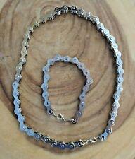 Bike Chain Necklace Bracelet Set Heavy Biker Neck Chain Bracelet