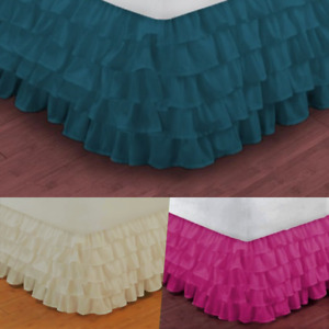 "VERSATIL PLAIN DUST RUFFLE AROUND ALL CORNERS 1PC BED BEDDING GYPSY SKIRT 20""NEW"