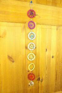 Chakra 7 Mandala Rainbow Wall Hanging Sun Catcher, Multi Colour Macrame + Beads