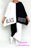 MYO-Lagenlook Oversize Big-Kasten-Shirt Tunika BLACK-WHITE 46,48,50,52,54,56