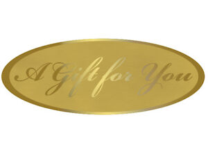 """GOLD (A Gift for You) Print Gift label Sticker 2-1/2"""" CHOOSE Package Amount"""