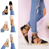 Women Fashion Espadrille Sandals Lace Up Strappy Low Platform Pumps Casual Shoes
