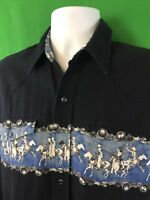 Roper Mens Western Pearl Snap Shirt Sz S Small Long Sleeve Cowboys Horses Print