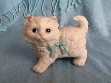 Homco Porcelain Cat - Standing with Blue Bow Vintage