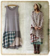 Mori Girl Floral Plaid Sleeveless Dress Lagenlook Stitching Basis Skirt Lolita