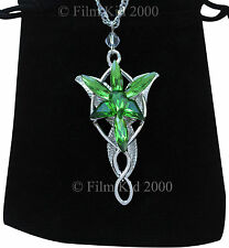 Evenstar Necklace Silver GREEN Crystals LOTR Lord Of The Rings Hobbit Arwen