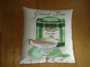 Dekokissen 13x14cm - Green Tea - Geschenke - Mitbringsel - Deko