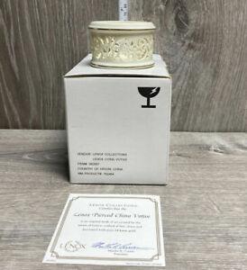 Lenox Pierced China Votive Tea Light Candle Holder Ivory 24K Gold Trim w/COA