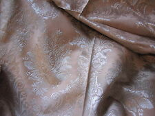 GORGEOUS DAMASK FLORAL FABRIC ~ ROSY BROWN & SILVER ~ UPHOLSTERY / DRAPERY *BTY