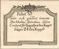 Sweden / Sager 24 Ore kopp 1800's  token / coinage  Rare Uncirculated Banknote