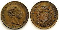 Spain-Alfonso XIII. Ficha de 10 pesetas Lauer. 1887. EBC/XF. Laton 0,6 g.