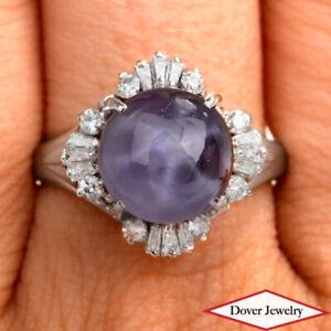 Estate Diamond 6.36ct Star Sapphire Platinum Elegant Filigree Ring 7.9 Grams NR