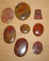 """Lot of 8 Jasper cabachons 2 1/8"""" by 1 4/16 Largest Mary Ellen Lapidary Jewelry"""
