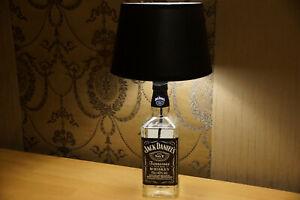 Tischlampe aus einer echten Jack Daniels Flasche Lampe Rund Schwarz