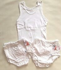 NWT CANDYLAND GIRL'S 100% COTTON UNDERSHIRT & 2 PANTIES SET WHITE BUTTERFLY