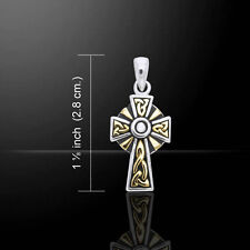 Celtic Cross .925 Sterling Silver Gold Accent Pendant by Peter Stone