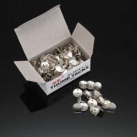 80 X Drawing Cork Notice Board Chrome Solid Head Silver Push Thumb Tacks Pins