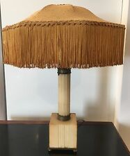 ANTIQUE EARLY 20TH CENTURY ALABASTER LAMP W/ METAL ACCENTS AND NICE ORIG.SHADE