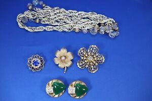 JS3 Lot of Vintage Coro Necklace Earrings Brooches Rhinestone Faux Flower