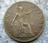 GREAT BRITAIN GEORGE V 1919 ONE PENNY