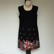 'AJOY' BNWT SIZE '12' BLACK MESH EMBROIDERED CAP SLEEVE LINED COTTON BLEND DRESS