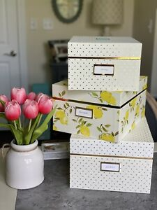 Kate Spade New York Small Medium Large Lemon Polka Dot Yellow Gold Nesting Boxes