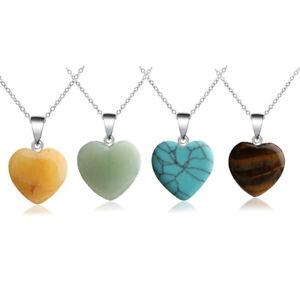 Natural Quartz Crystal Stone Chakra Healing Gemstone Heart Pendant Necklace New