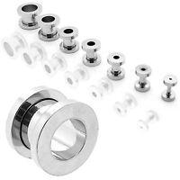 Set Tunnel Tunnelset Piercing Plug Flesh Ohr Stahl Silbern 1,6 2 3 4 5 6 8 10