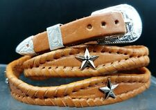 NEW Tan HATBAND Scalloped Braided Leather w/ STAR CONCHOS & Buckle Set Hat Band