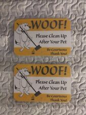 """2 Clean Up After Your Dog Sign dog pet no poop crap pick warning 4 1/2"""" x 7"""" in."""