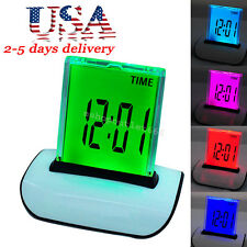 LED Digital LCD Thermometer Calendar Alarm Clock songs Alarm -7 Color Changing